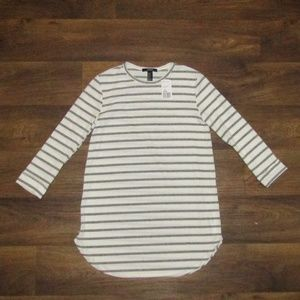 Forever 21 Knit Top White Black Size M Long Sleeve